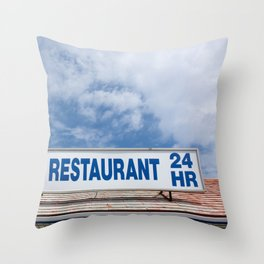 Open 24 Hours. Throw Pillow