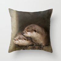 otters Throw Pillows featuring The curious otters by Pauline Fowler ( Polly470 )