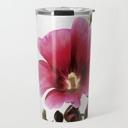 Pink Hollyhock Travel Mug