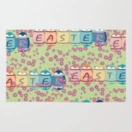 Easter word on eggs Rug