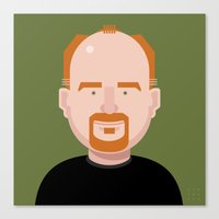 louis ck Canvas Prints featuring Comics of Comedy: Louis CK by XK9 Works