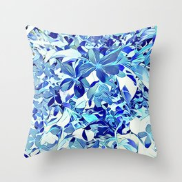 Blue sakura Throw Pillow