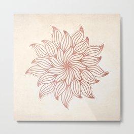 Flowery Rose Gold Mandala on Cream Metal Print