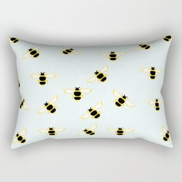 Cute Bees Print on Blue Background Rectangular Pillow