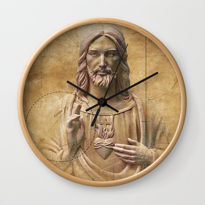 Vintage Drawing of Jesus Christ - Religious Wall Clock