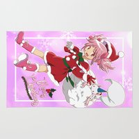 madoka Area & Throw Rugs featuring Merry Christmas Madoka Kaname by Neo Crystal Tokyo