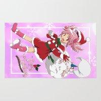 madoka magica Area & Throw Rugs featuring Merry Christmas Madoka Kaname by Neo Crystal Tokyo