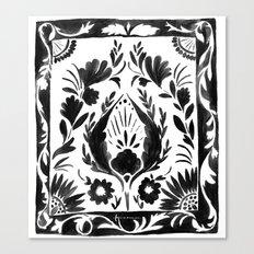 Nadia Flower - Black Canvas Print