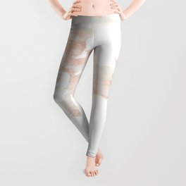 Marble World Map Light Pink Rose Gold Shimmer Leggings