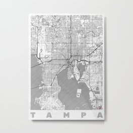 Tampa Map Line Metal Print