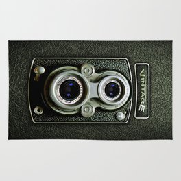 Vintage black doff double lens camera iPhone 4 5 6 7 8 x, pillow case, mugs and tshirt Rug