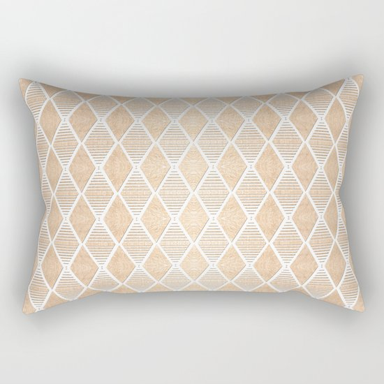 White and Copper Geometric Pattern Rectangular Pillow