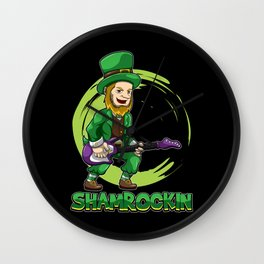 Shamrockin - Leprechaun With E-Guitar - Musician Wall Clock