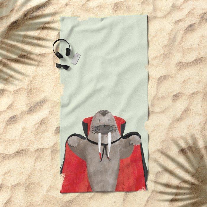 Vampire Walrus Beach Towel