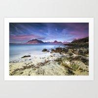 Beach Scene - Mountains, Water, Waves, Rocks - Isle of Skye, UK Art Print