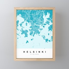 Helsinki Map | Blue & Cyan | More Colors, Review My Collections Framed Mini Art Print