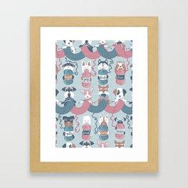 Knitting dog feelings I Framed Art Print