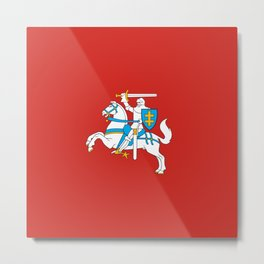 State Flag of Lithuania Knight On Red Metal Print
