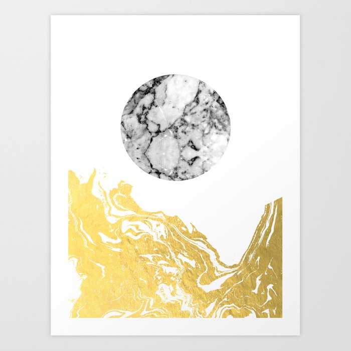 Bekke abstract minimal white and gold modern art print for Minimal art wall