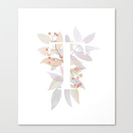 Rustic Watercolor Monogram - Letter T Initial - Colorful Leaves Canvas Print