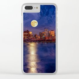 Moon light night, Boston MA Clear iPhone Case