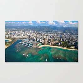 Aerial View of Waikiki Beach Canvas Print