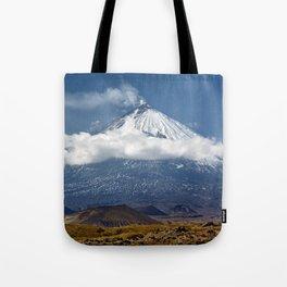 Klyuchevskoy Volcano or Klyuchevskaya Sopka on Kamchatka - highest active volcano of Eurasia Tote Bag