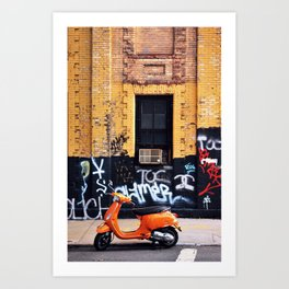 Orange Scooter Art Print