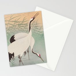 Two cranes in the lake - Japanese vintage woodblock print Stationery Cards