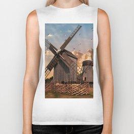 Traditonal dutch windmills at sunrise Biker Tank