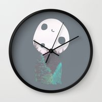 kodama Wall Clocks featuring Dreamland Kodama by Canis Picta