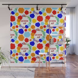 QUEER AF - A Rainbow Floral Pattern Wall Mural