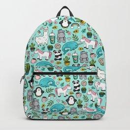Narwhal and Friends, Emoji Tween Print, Pre-teen Girls, Unicorns, Panda, Llamas and Doughnuts Backpack