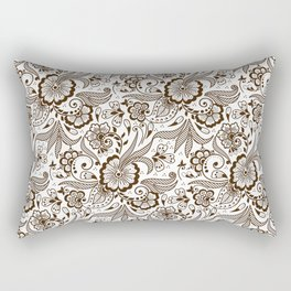 Mehndi or Henna Flowers and Leaves Rectangular Pillow