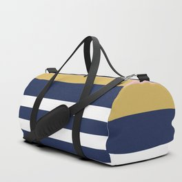Graduated Stripes in Navy Blue, Blush Pink, Mustard Yellow, and White. Minimalist Color Block Design Duffle Bag