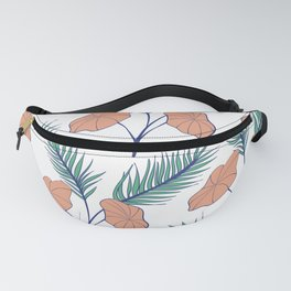 Green and pale orange bright leaves design Fanny Pack
