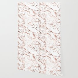 Modern chic faux rose gold white marble pattern Wallpaper