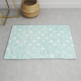 Small Checkerboard in Shades of Blues Rug