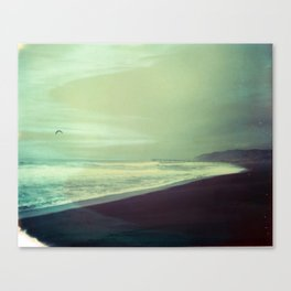 Pier with gull Canvas Print