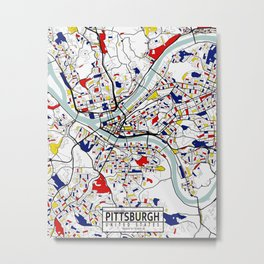 Pittsburgh City Map of the United States - Mondrian Metal Print