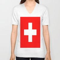 switzerland V-neck T-shirts featuring Flag of Switzerland by Neville Hawkins