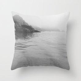 Sea Mist Beach, Pedn Vounder, Cornwall Throw Pillow
