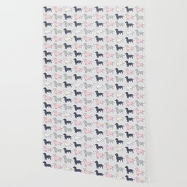 Doxie Love - Grey and Pink Wallpaper