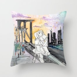 Kissing on the Bridge Throw Pillow
