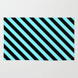 Electric Blue and Black Diagonal LTR Stripes Rug
