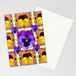 GOLDEN ART PURPLE & YELLOW SPRING PANSIES  GARDEN Stationery Cards
