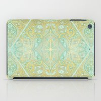 bedding iPad Cases featuring Mint & Gold Effect Diamond Doodle Pattern by micklyn