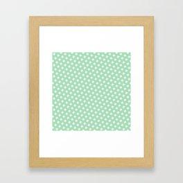 Green and White Circles Framed Art Print