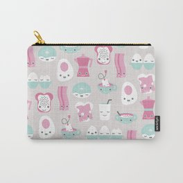 Kawaii breakfast good morning pattern with eggs coffee bacon and tea Carry-All Pouch