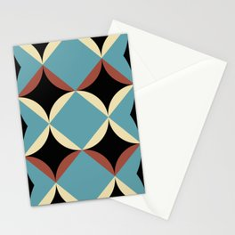 Frontal Fishes with squared blue mouths in a black deep sea. Stationery Cards